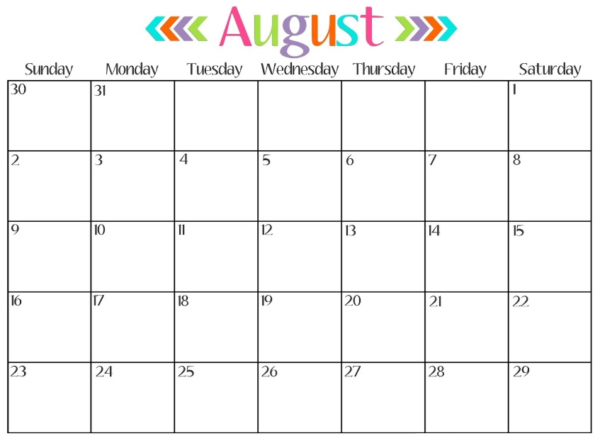 August 2017 Calendar Printable Templates - PDF Word