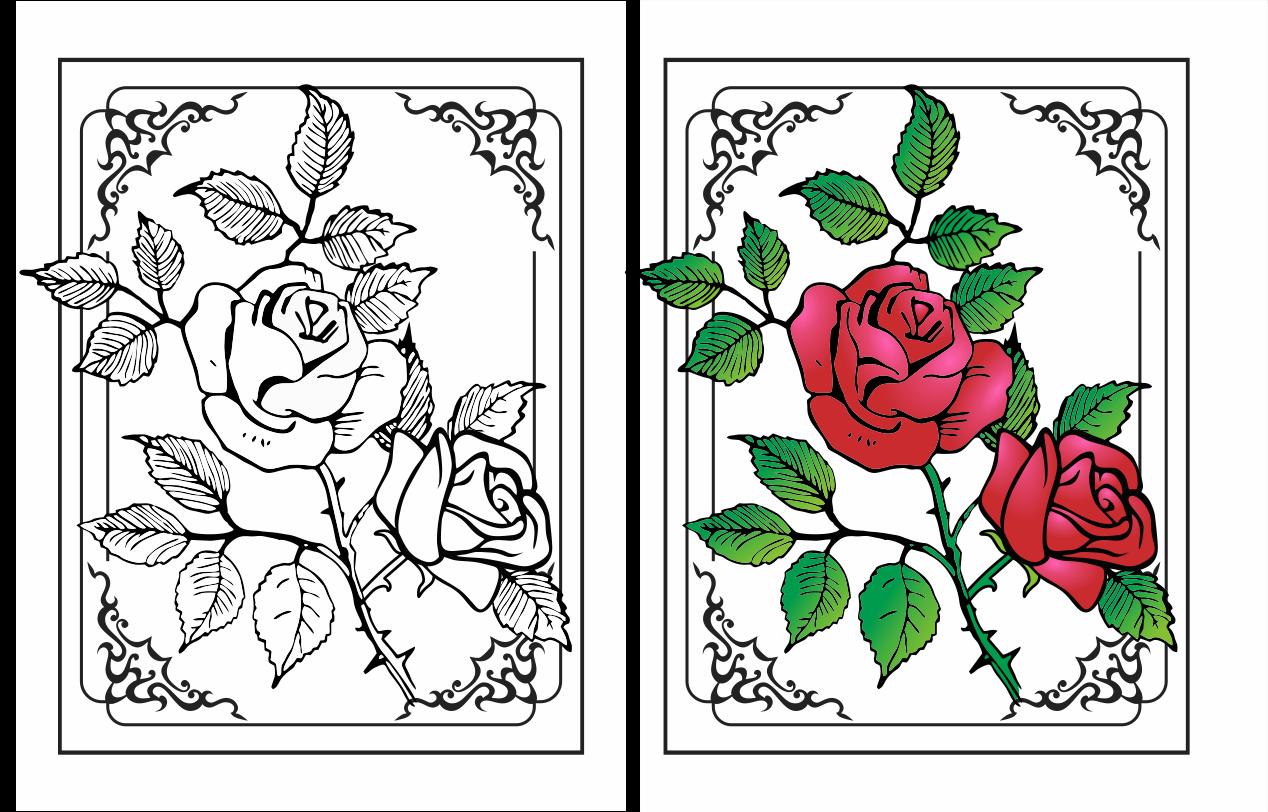 Hasil Mewarnai Gambar Bunga
