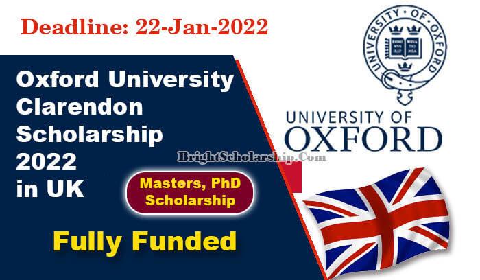 150+ bourses Oxford Clarendon entièrement financées 2022 au Royaume-Uni