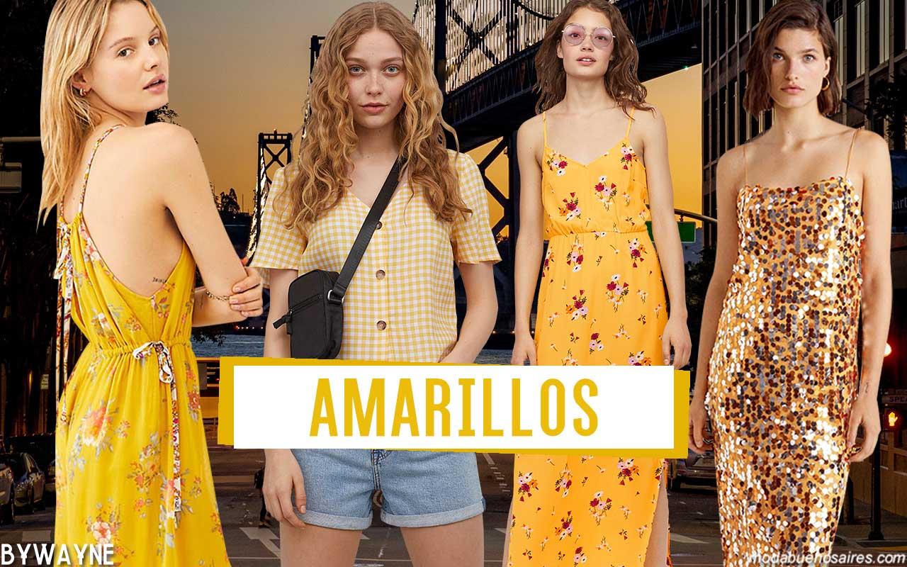 Colores de moda primavera verano 2020: Amarillos y sus variantes y combinaciones en outfits de moda primavera verano 2020.