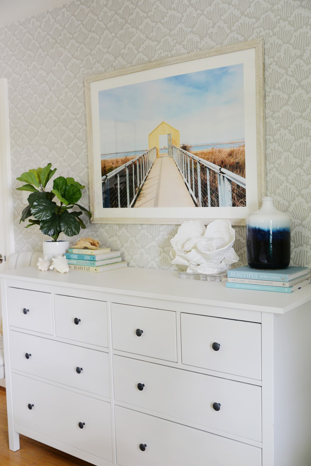 6 easy ways to bring summer into your home, Ramblingrenovators.ca, summer artwork, giant shell, blue white vase