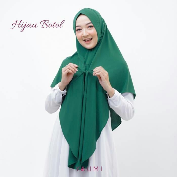 Yaumi Hijab Khimar Almira Hijau Botol