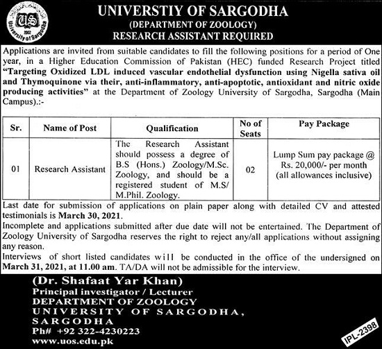 university-sargodha-research-assistant-jobs-2021-advertisement