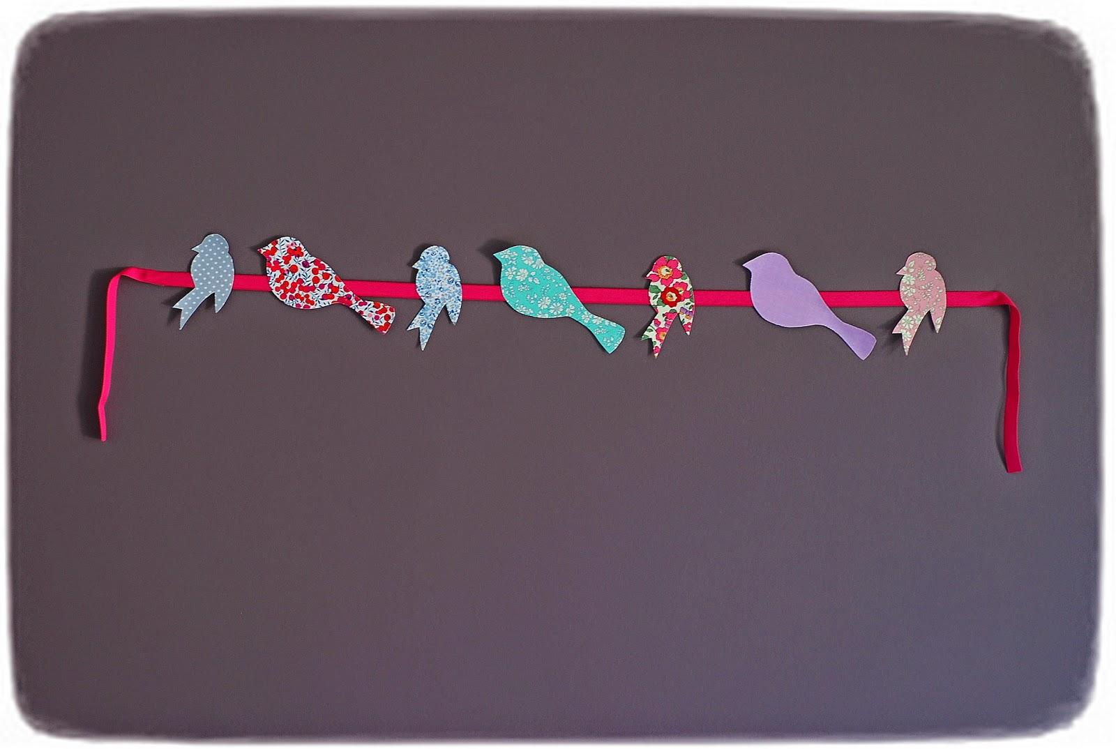 Rose  Blue La boutique Guirlande oiseaux liberty