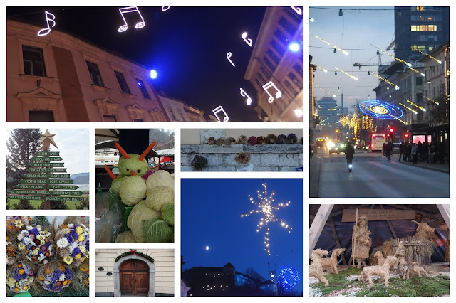 Festive lights and decorations collage from Ljubljana and Bled