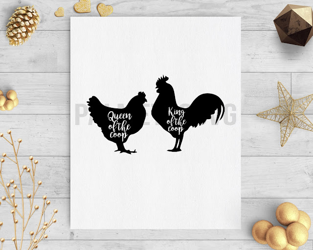king and queen of the coop clip art svg dxf cut file silhouette cameo cricut download