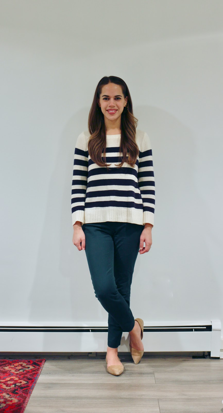 Jules in Flats - Striped Sweater with Green Ankle Pants (Business Casual Winter Workwear on a Budget)