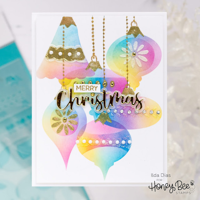 Iridescent Christmas Glass Ornaments,Honey Bee Stamps, Card Making, Stamping, Die Cutting, handmade card, ilovedoingallthingscrafty, Stamps, how to,  Rainbow,Ink Blending,Stencil, Christmas Card