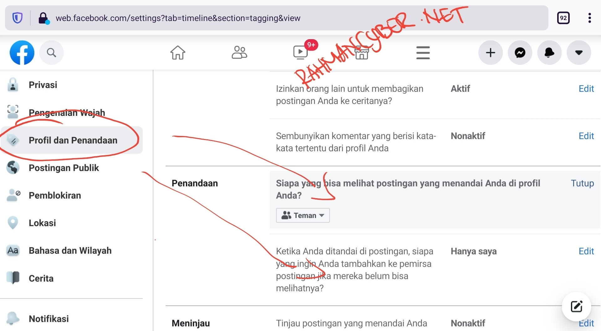 pengaturan penandaan / tag facebook