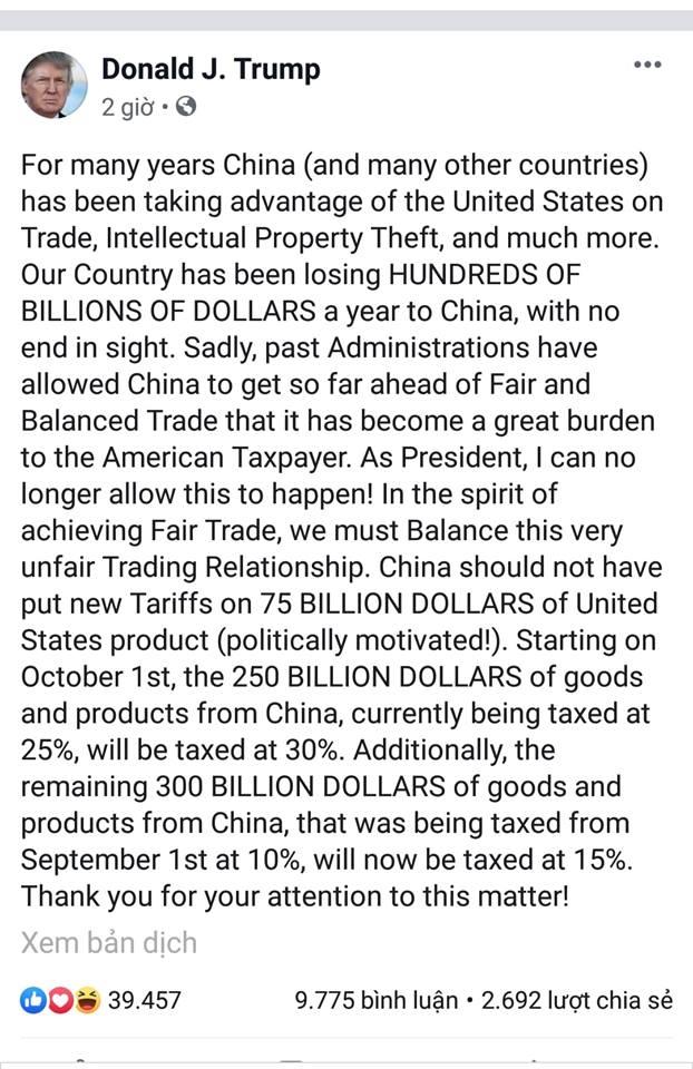 Trump áp thuế 30% với 250 tỷ USD hàng Trung Quốc