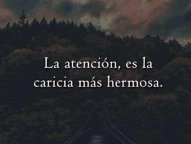 La atención es la caricia más hermosa.