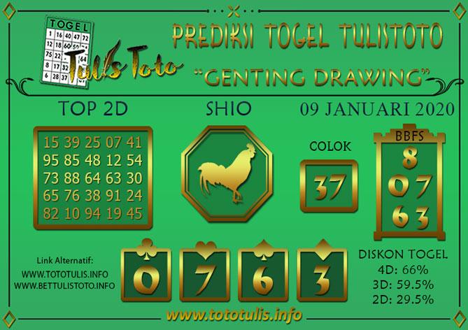 Prediksi Togel GENTING DRAWING TULISTOTO 09 JANUARI 2020