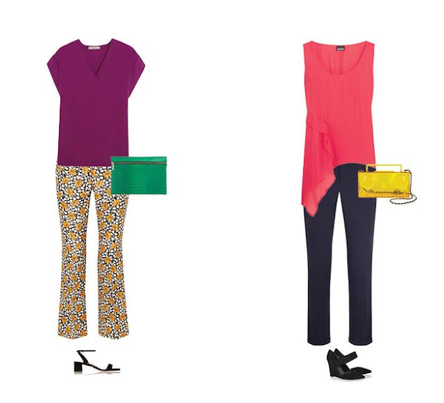 Желтые брюки с фиолетовым топом и зеленой сумкой и розовый топ с синими брюками и желтой сумкой
