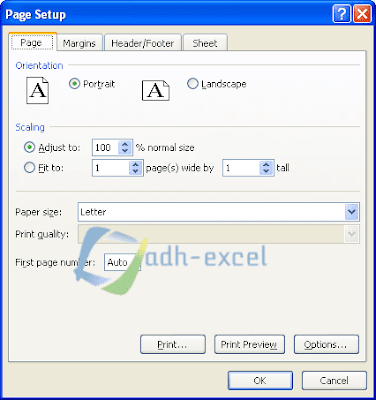 margin setting on excel with page setup