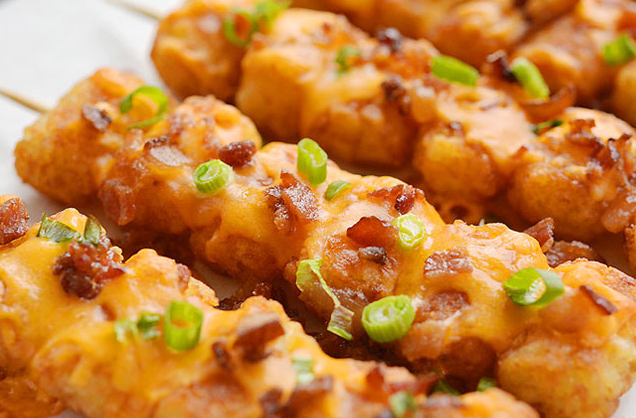 Loaded Tater Tot Skewers Recipe #loaded #cauliflower #mushroom #recipe #vegetarian