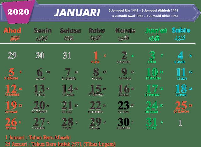 Download Kalender Januari 2020