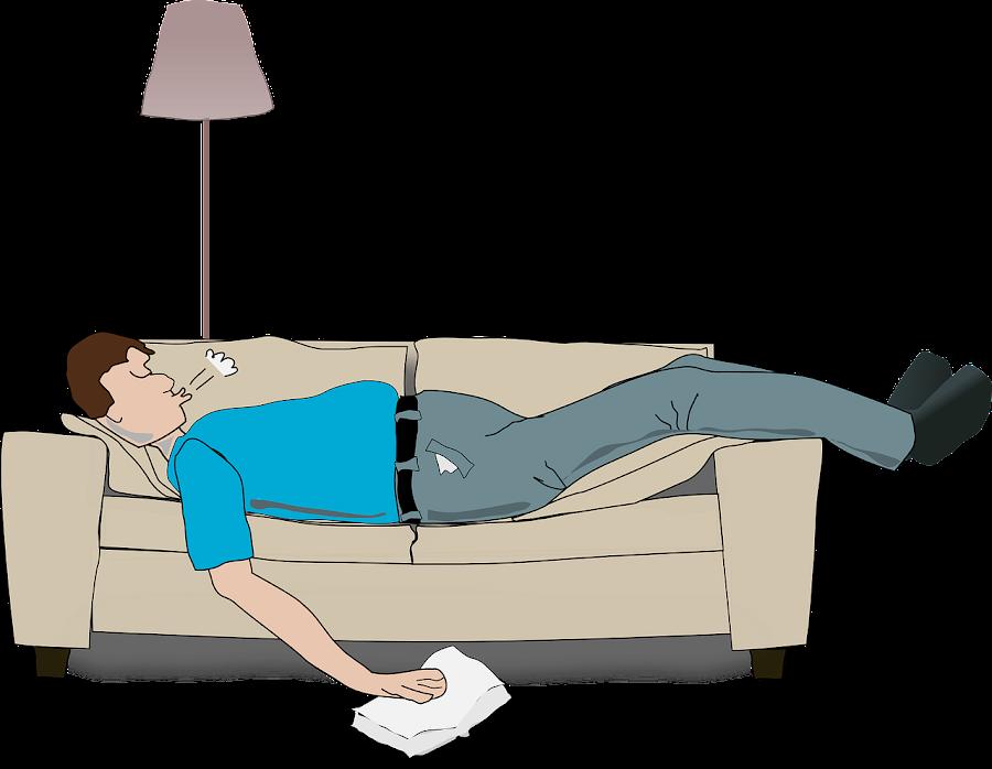 Hombre durmiendo sobre sofá roncando