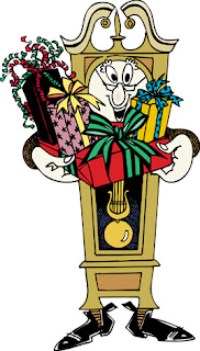 Clipart image of a clock holding gifts