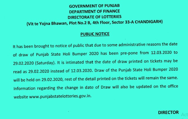 Punjab State Lottery Holi Bumper Results 29 Feb 2020 Draw Today Online