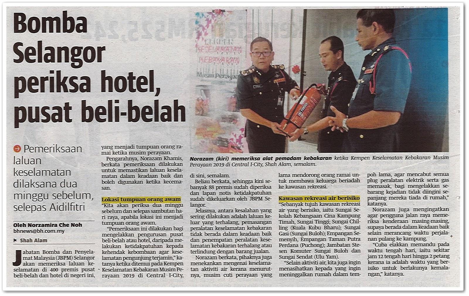 Bomba Selangor periksa hotel, pusat beli belah - Keratan akhbar Berita Harian 29 Mei 2019