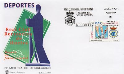 filatelia, sobre, sello, matasellos, Huelva, Recreativo, fútbol, centenerio