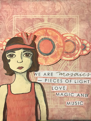 Flapper Style Art Deco Layered Mixed-Media Canvas with StencilGirl® Stencils by Sarah Donawerth