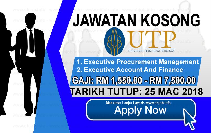 Jawatan Kerja Kosong Universiti Teknologi PETRONAS - UTP logo www.ohjob.info mac 2018