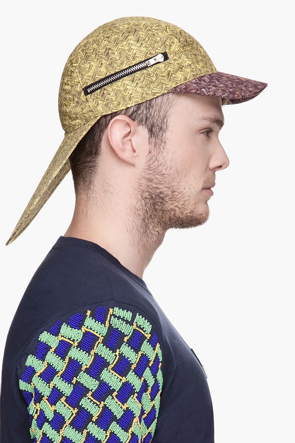 Fusion Of Effects  Trendology  Kenzo Yellow Basket Weave Double-Brimmed Cap 49148964242
