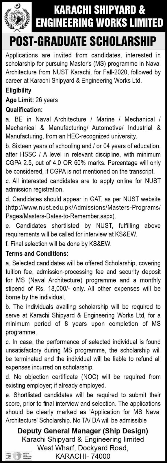 Postgraduate Scholarships from Karachi Shipyard & Engineering Works Limited  April 2020