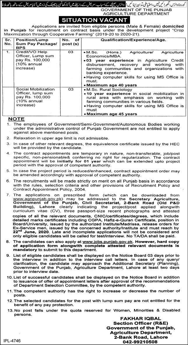 Jobs in Agriculture Department Govt of Punjab June 2020