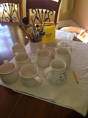 Glazing Pottery in My Temporary Studio by Lori Buff