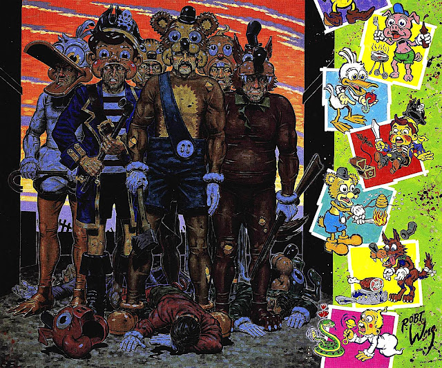 a Robert Williams painting of ugly violent childish men