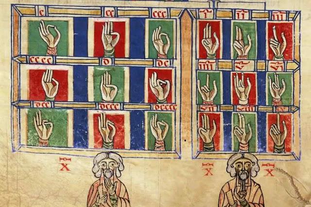 Contar com os dedos de 1 a 20.000, de 'De numeris'. Codex alcobacense, por Rabanus Maurus (780-856)