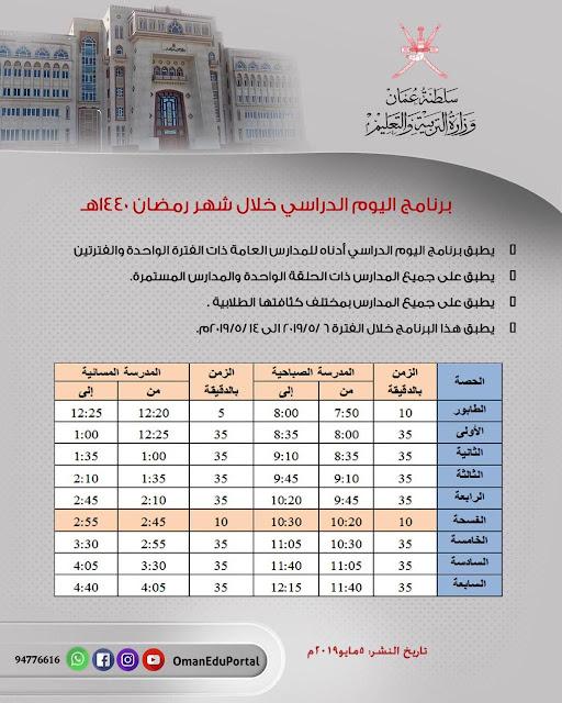 جدول الدوام في مدراس السلطة خلال شهر #رمضان 1440