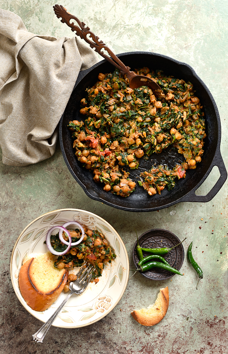 Chickpeas, spinach, Indian inspired, recipe, food photography, simi jois, food styling,