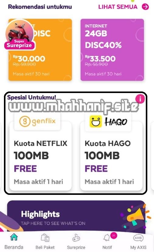 Paket Internet 100mb Rp 0 Kartu Axis Mbah Hanif