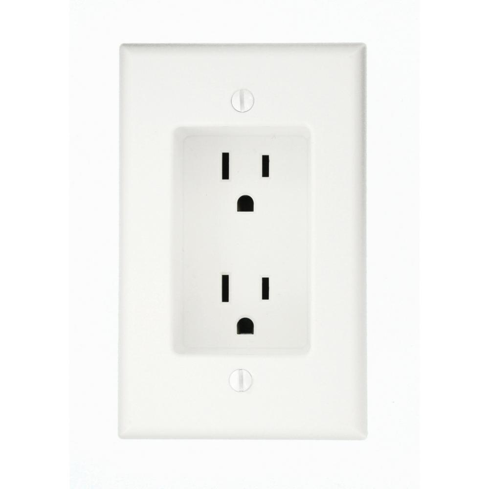 Recessed outlets for behind furniture