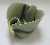 4243 Hilborn Green Art Pottery Dish side view