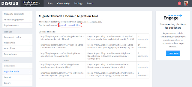 Disqus Domain Migration Tool manually