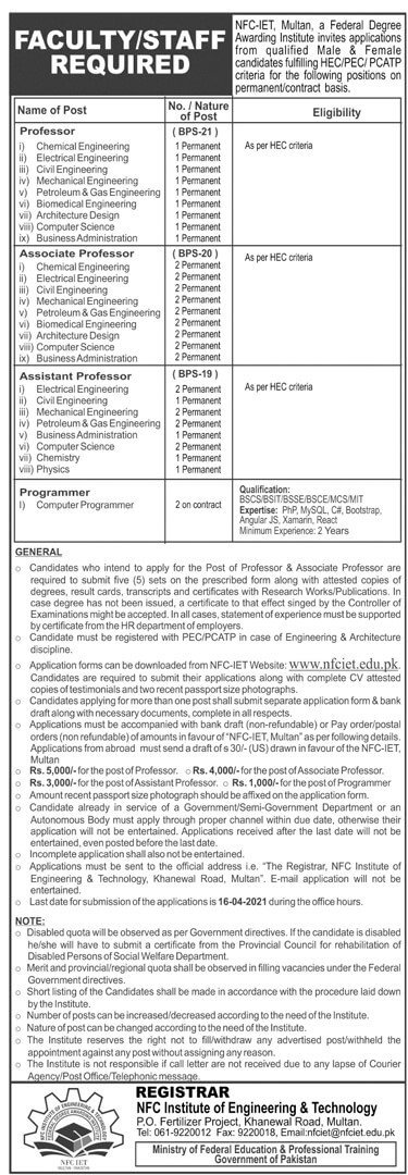 NFC Institute of Engineering and Technology Multan Jobs 2021 - NFC Multan Jobs Advertisement - NFC Multan Jobs 2021 - NFC Jobs