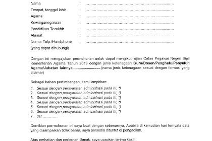 Format Resmi Surat Lamaran CPNS Kemenag