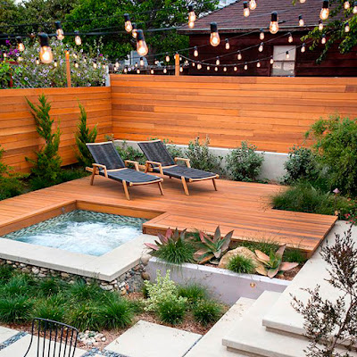 Wooden Patio with Hot Tub