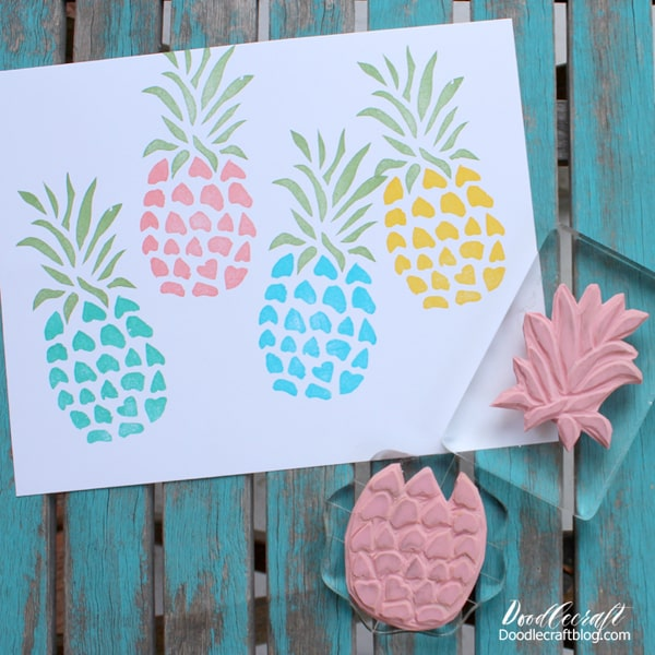 Pineapple hand carved rubber stamp.