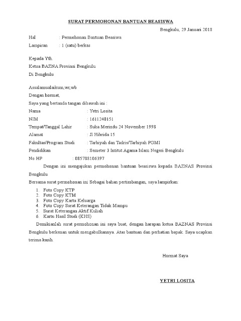 Contoh Surat Permohonan Bantuan Baznas (via: scribd.com)