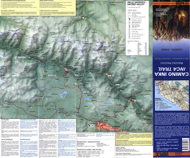 Sacred Valley ( plan touristique avec chemins de randonnées )