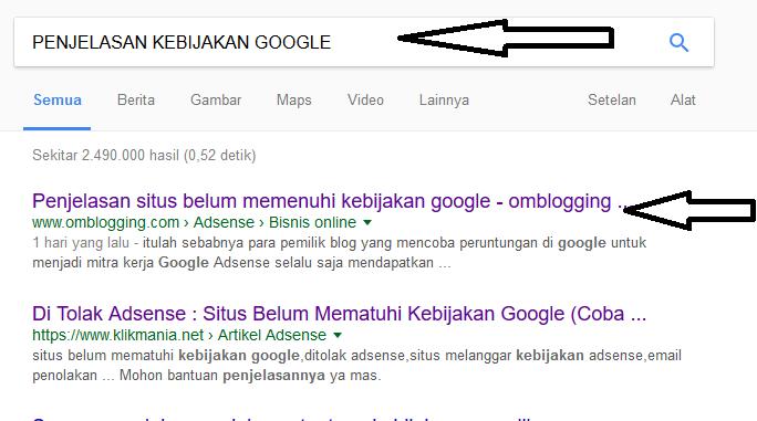 kebijakan google situs belum mematuhi