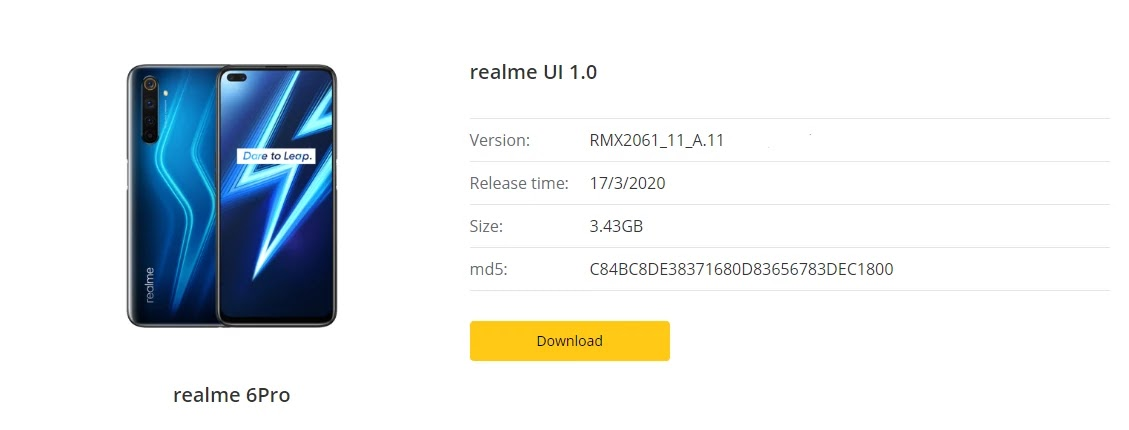 Realme 6 Pro March 2020 Security Patch Update Fixes Audio, Camera & Much More [RMX2061_11_A.11] - Realme Updates