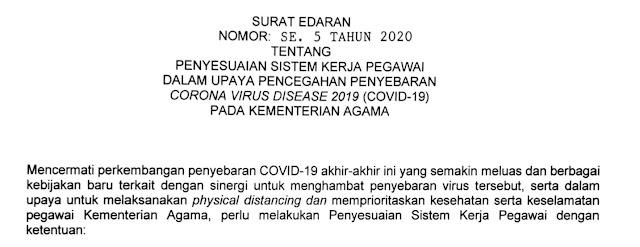 Surat Edaran Tentang Penyesuaian Sistem Kerja Pegawai Dalam Upaya Pencegahan Penyebaran Covid-19 Pada Kementerian Agama