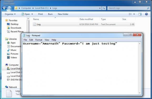 create keylogger using notepad image
