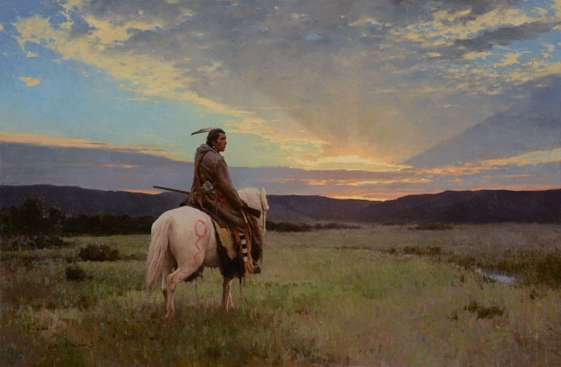 "by Z. S. Liang, ""Lone Rider, Milk River Valley"" - oil on linen canvas 